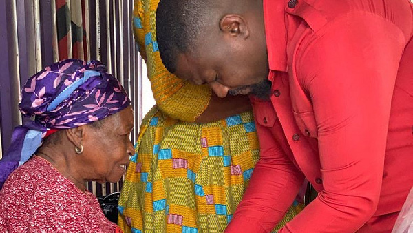John Dumelo spends Val's Day with widows, promises to launch widows' association