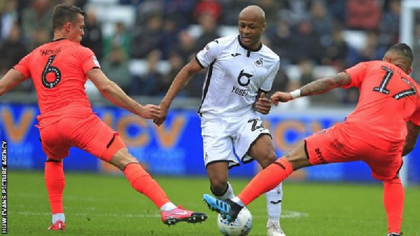 Andre Ayew scores 13th goal in Swansea win over Huddersfield