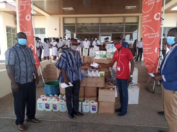 Vodafone presents coronavirus items to Upper West Regional Hospital
