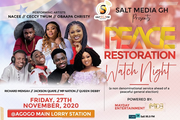 Election 2020: Nacee, Obaapa Christy, other top worshipers to pray for peace at Restoration Watch Night