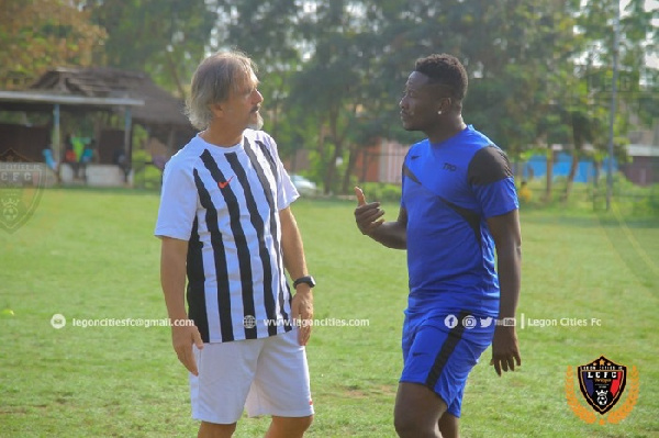 Legon Cities FC coach gives update on crocked record signing Asamoah Gyan
